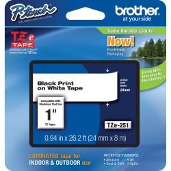 Juostelė Brother TZe-251 | 24mm*8m | balta juostelė | juodas tekstas