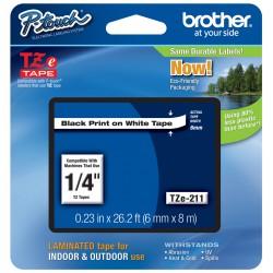Juostelė Brother TZe-211 | 6mm*8m | balta juostelė | juodas tekstas