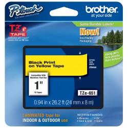 Juostelė Brother TZe-651 | 24mm*8m | geltona juostelė | juodas tekstas