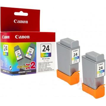 Rašalinė kasetė Canon BCI-24C | 2 vnt. pakuotė | trispalvė
