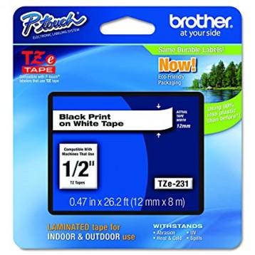 Juostelė Brother TZe-231 | 12mm*8m | balta juostelė | juodas tekstas
